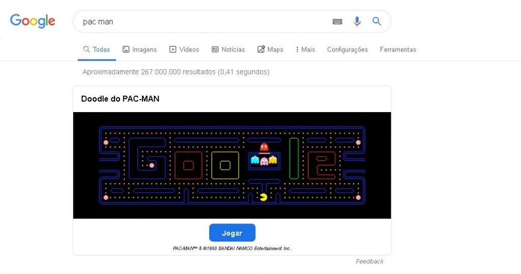 pac man 1024x538 - 10 funções inusitadas e interessantes do Google